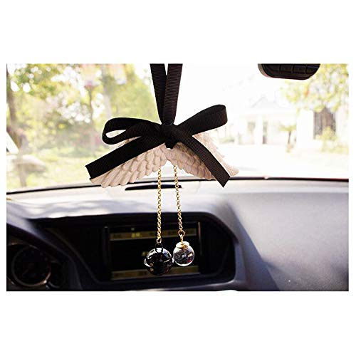 LuckySHD Car Mirror Perfume Hanging Bowknot with Angel Wings Ornament Pendant by LuckySHD