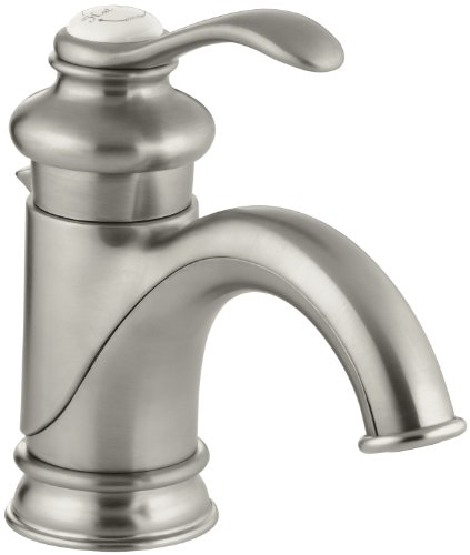 Brushed Nickel Plug Button - KOHLER K-12182-BN Fairfax Single Control Lavatory Faucet, Vibrant Brushed Nickel