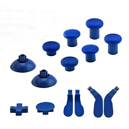 Canamite Thumbsticks Full Set Replacement Part (14 pcs) 6 Swap thumbsticks & 2 D-pads & 4 Hair Trigger Locks for Xbox One Elite Controllers with 3.5mm headphones jack (blue) by Canamite