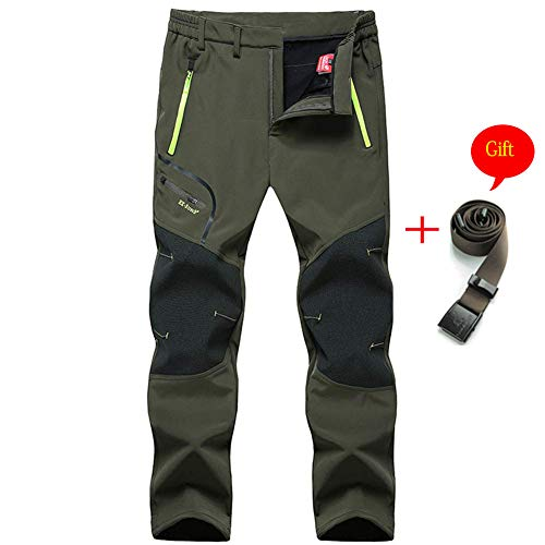 MirFreyr Mens Outdoor Waterproof Hiking Pants Camping Climbing Fishing Trekking Softshell Fleece Lined Pants …