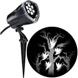 LED Projection Flying White Ghosts with Static Spooky Tree Halloween Spotlight (Set of 5)