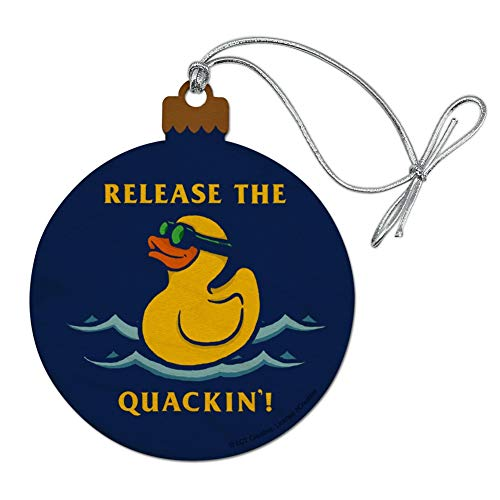 ase The Quackin' Kraken Rubber Duck Funny Humor Wood Christmas Tree Holiday Ornament ()