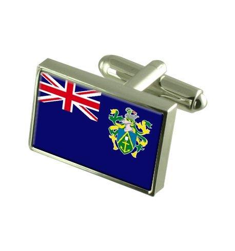 Pitcairn Islands Boutons de manchette drapeau avec boîte de souvenir gravé