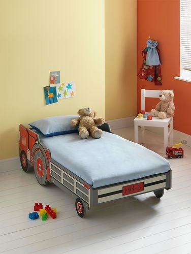 Toddler Tractor Bed Cotbed Otis Red Frame Amazoncouk Kitchen Home