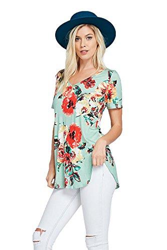 SHOPGLAMLA Floral Print Comfy Short Sleeve Loose Fit T-Shirt Top V-Neck - Mixed Petals - Sage S (Mixed V-neck Prints Top)
