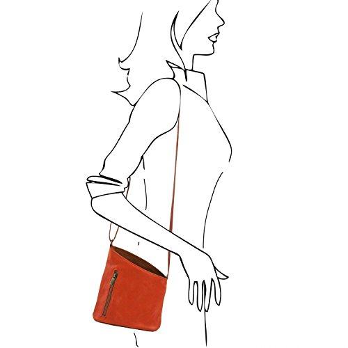 Tuscany Leather TL Bag Bolsillo unisex con bandolera en piel suave Bordeaux Bolsos en piel Rojo