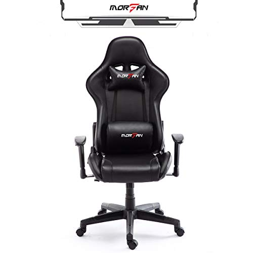 Morfan Game Chair Massage and Rocking Swivel Ergonomic PU Leather Computer Desk Office Chair Fashion F Series (Black)