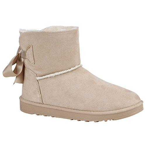 Stiefelparadies Damen Stiefeletten Schlupfstiefel Warm Gefütterte Stiefel Schuhe Flandell Creme Schleife