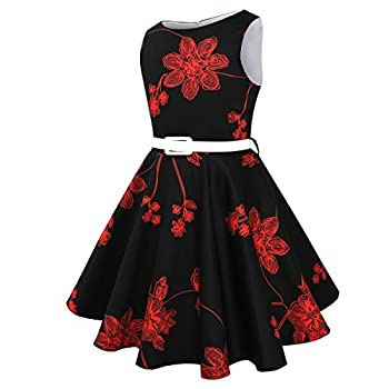 Hbbmagic Girls Sleeveless Round Neck Floral Audrey 1950s Fashion Vintage Swing Party Dress (Girls 11-12, Red Bouquet) 3
