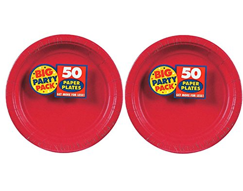 Amscan Big Party Pack 50 Count Paper Luncheon Plates Value 2-Pack (100 count total), 7-Inch, Apple Red (Paper Appetizer Plates)