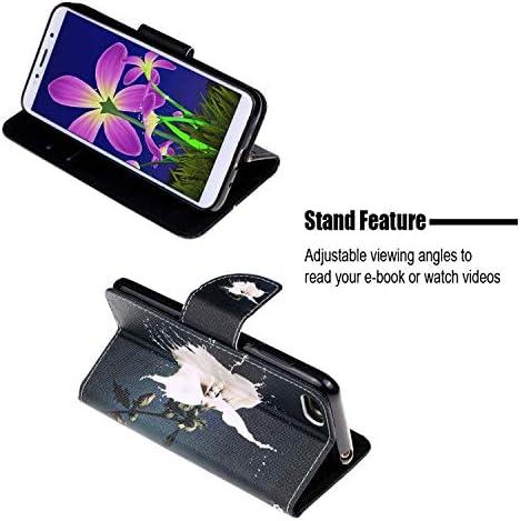 Urhause Kompatibel mit Huawei Y5 2018 Hülle, Gemalt Wallet Flip PU-Handyhülle mit [Kartenslots][Magnetverschluss] Ständer Funktion mit Lanyard Stoßfeste Schutzhülle,Eule