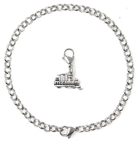 "Price comparison product image 2 PC SET: Adjustable 8.5"" Stainless Steel Starter Charm Bracelet and Clip on Charm Train 2PB 41O"
