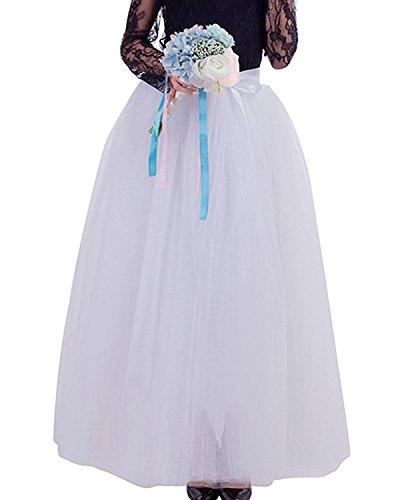 Comall Femme Jupon sous Robe Jupe Tutu en Tulle 7 Couches 100cm Rtro Vintage Petticoat Blanc