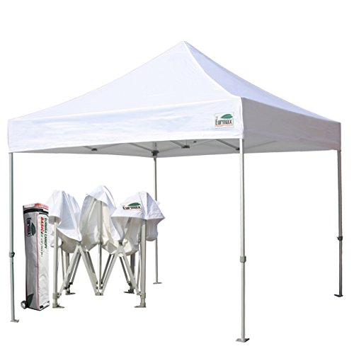 Eurmax White 10x10 Ft Ez Pop up Canopy Commercial Instant Tent Fair Outdoor Gazebo with Roller Bag (White)