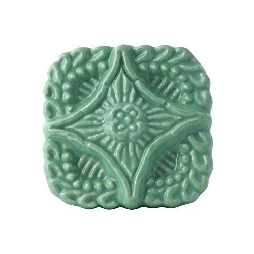 - Set of 4 Turquoise Ceramic Knobs - Decorative Embossed Drawer Pulls for Dressers, Cabinets, and Chests - Handmade Square Cabinet Pull Hardware for Kitchen, Dining Room by Artisanal Creations