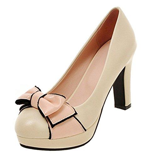 35736ee714dc YE Damen Blockabsatz Pumps Geschlossene High Heels Plateau mit Schleife und 10  Absatz Elegant Schuhe Beige