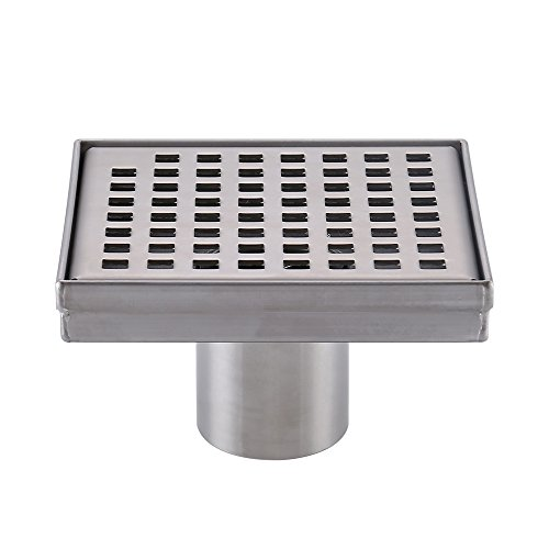 oor Drain with Removable Grate Strainer SUS 304 Stainless Steel Bathroom Drainer RUSTPROOF Brushed Finish, V255S14 ()