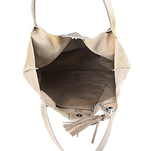 Chicca Borse Mujer Bolsa de compras en cuero genuino Made in Italy 39x36x20 Cm Barro