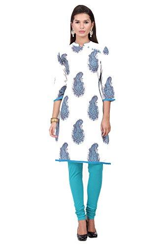 In-Sattva ethnicity Women's Indian Paisley Print Kurta Tunic; MD; White by In-Sattva