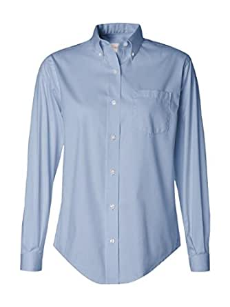 Van heusen women 39 s wrinkle free pinpoint oxford shirt at for Wrinkle free dress shirts amazon