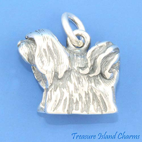 Lhasa Apso Dog Breed 3D .925 Solid Sterling Silver Charm Pendant