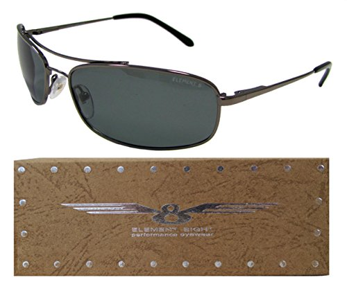E8 Element Eight Metal Wire Frame Polarized Sunglasses Rimless - Gun Metal Frame - Smoke - Wire Polarized