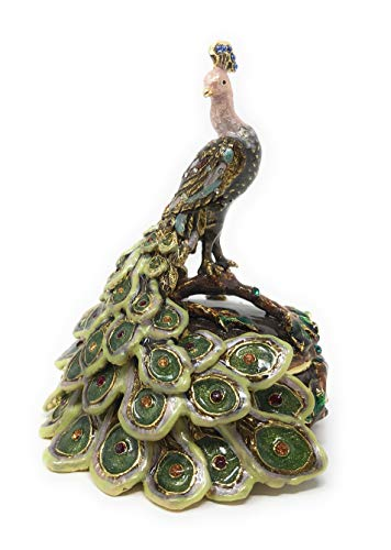 Kubla Crafts Enameled Peacock Trinket Box, Accented with Austrian Crystals, 3.25 Inches Tall