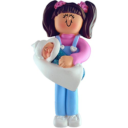 Brother Big Ornament Personalized (Personalized Big Sister Christmas Ornament for Tree 2018 - Lovely Brunette Teen Hug Carrying Younger Sibling Baby Care - First New Small Little Sista Brother Free Customization by Elves (Brown Hair))
