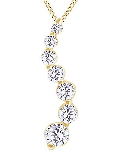 White Natural Diamond 7 Stone Journey Pendant in 14k Yellow Gold (0.50 Cttw)