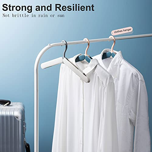 Sazfli Foldable Coat Hangers Portable Travel Collapsible Hangers with Clips for Clothes and Coats, 4 Pcs