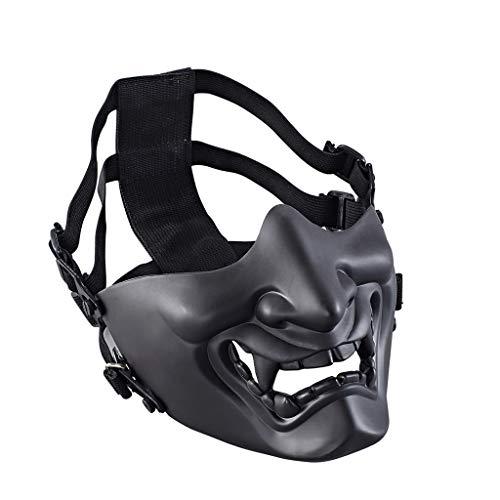 Scarey Clown Makeup (Sharon Church Halloween Half Face Protection Samurai Mask Games Outdoor Mask for)