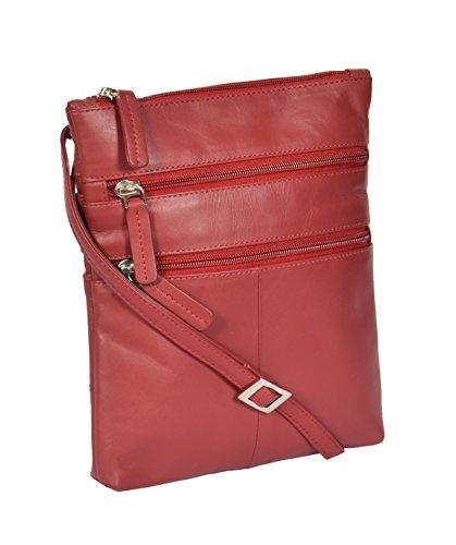 Kreuz Körper-Tasche 'BEIJING' Rot Damen Schulter Ledertasche 18x22x1cm