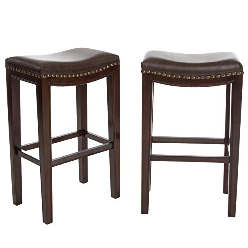 (Jaeden Backless Faux Leather Bar Stools with Brass Nailhead Studs, Set of 2)