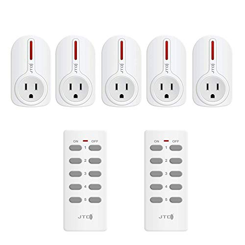 JTD 5 Pack Remote Control Outlet Switch 3rd Generation Energy Saving Auto-programmable Wireless Electrical Plug Switch for Household Appliances Lighting & Electrical Equipment (2 Remotes)