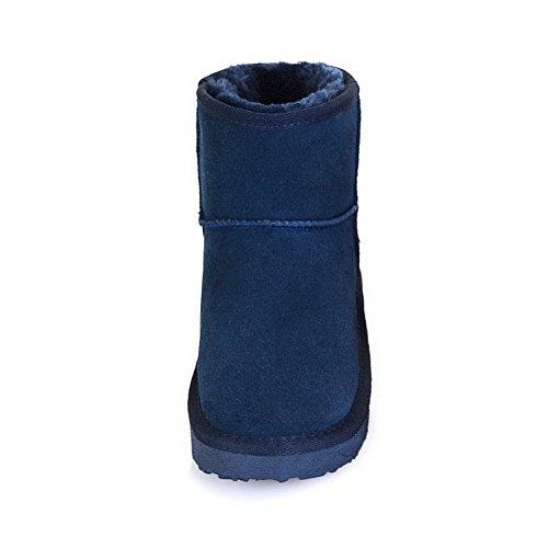 Amoonyfashion Womens Tacco Basso Tacco Basso? Stivali Solidi Patch Di Mucca Cranio Con Carattere Modello Blu Scuro
