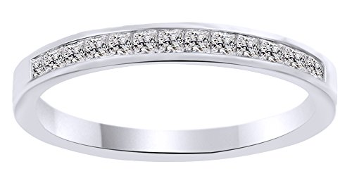 White Natural Diamond Princess Cut Classic Half Eternity Ring in 10k Solid White Gold (0.4 Cttw) Ring Size - 5 by AFFY
