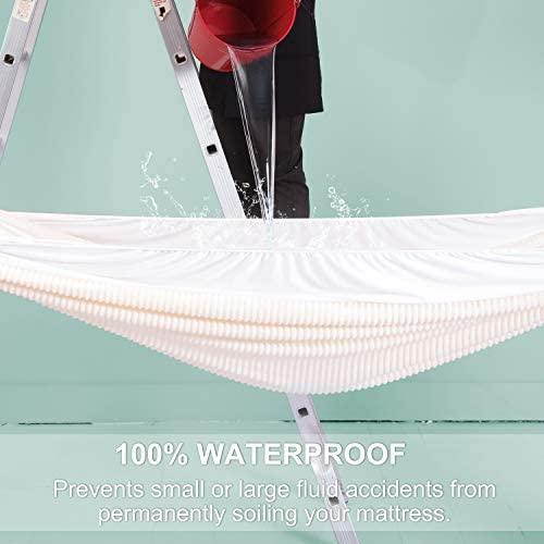 """100% Waterproof Mattress Protector Breathable Velvet Deep Pocket Soft Mattress Cover - Hypoallergenic Fitted Sheet Mattress Pad Cover, Noiseless, Bed Bug Proof, Vinyl PVC and Phthalate Free, Twin XL 39""""x80""""x18"""""""