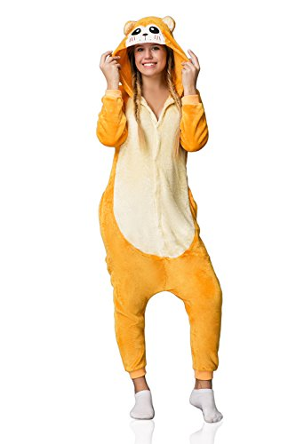 Adult Monkey Kigurumi Onesie Pajamas Animal Cosplay Costume Hooded Warm Fleece Pjs (L, light yellow, (Trajes De Halloween Baratos)