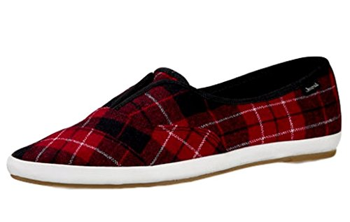 Sanuk Womens Kat Paw TX Shoes Size 08 Red (Red Plaid Sneaker)