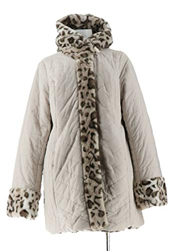 (Dennis Basso Water Resistant Puffer Reversible Coat Snow Lynx XL New A270719 )