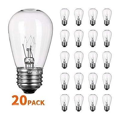 S14 Light Bulbs 11 Watt Warm Commercial Grade Replacement Incandescent Glass Bulbs with E26 Medium Base for Outdoor Patio Garden Vintage String Lights