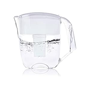 Premium Water Pitcher Filter by Ecosoft – 8 Cup - With 1 Filter, Efficient BPA-free Purification System, Portable and Sleek Kitchen Filtration Jug, Promotes Healthy Drinking, White