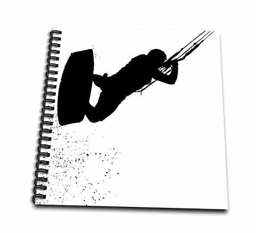 3dローズTaiche–ベクトル–カイトサーフィンウェイクボード–Up Up and Away Kiteboarderシルエット–Drawing Book 12x12 memory book db_264526_2