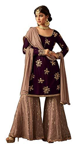 London Collection Indian Pakistani Bollywood Designer Women Ethnic Wear Salwar Kameez Salwar Suit (Purple, ()