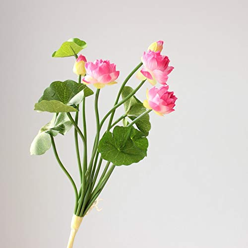Idealplast-A-Bunch-of-Lotus-Artificial-Simulation-Flower-Home-Flowerpot-DecorationPink