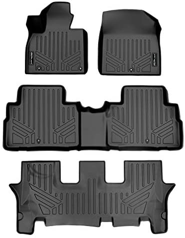 SMARTLINER All Weather Custom Fit Black 3 Row Floor Mat Liner Set Compatible With 2020-2022 Kia Telluride with 2nd Row Bench or Bucket Seats With Center Console