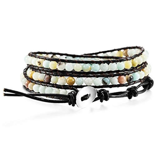 MOWOM Multicolor Alloy Genuine Leather Bracelet Bangle Cuff Rope Simulated Amazonite Stone...