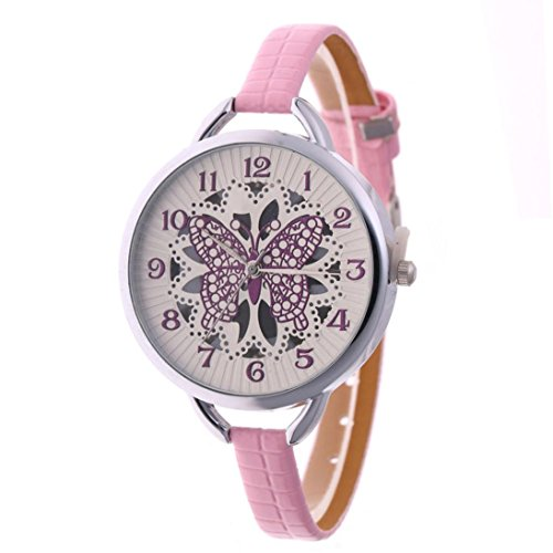 Swyss Women's Fashion Watches Large Face Butterfly Hollow Dial Watch Analog Quartz Wrist Watch Chic Charm Casual Accessories (Pink)