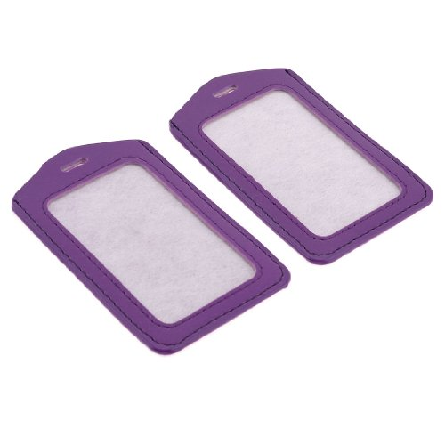 Uxcell Faux Leather Plastic Work Badge Card Holder, 2-Pieces, Purple Clear