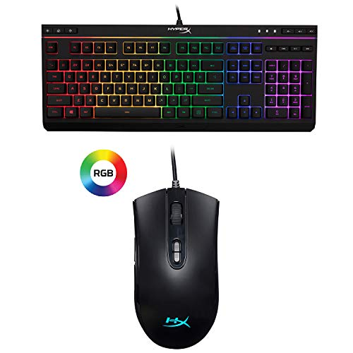 HyperX Alloy Core RGB - Gaming Keyboard - Quiet and Responsive - 5-Zoned RGB Backlit Keys and HyperX Pulsefire Core - RGB Gaming Mouse, Software Controlled RGB Light Effects and Macro Customization